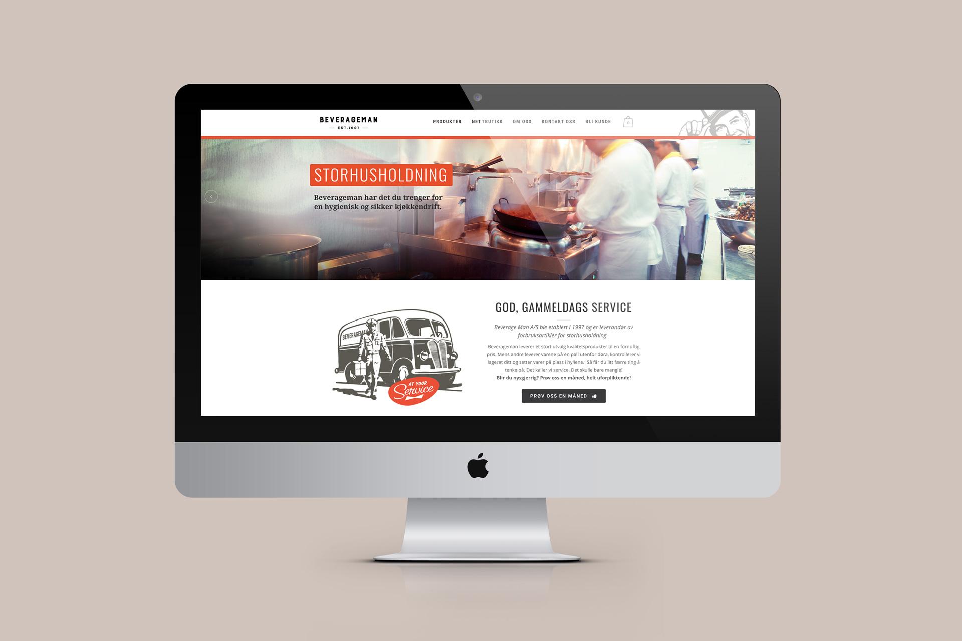 Nettside med webshop for Beverageman