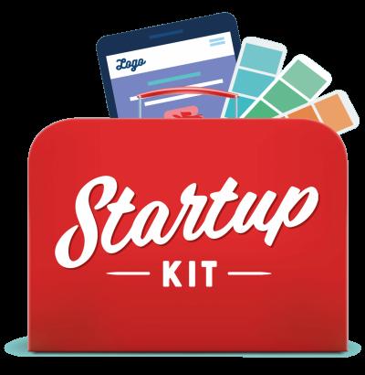 Startupkit Kit, logo, nettside og profilelementer
