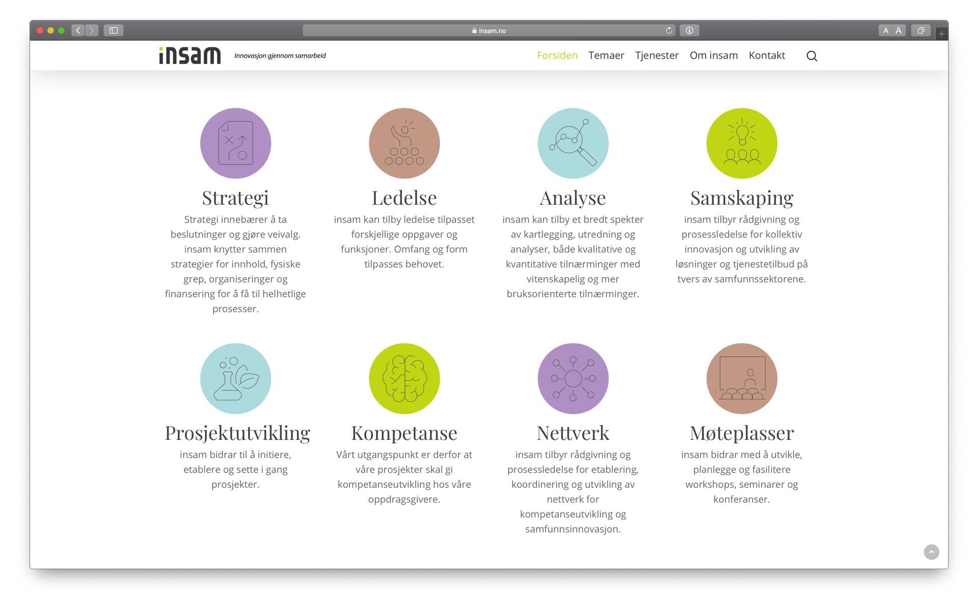 Nettside med en grønn tråd