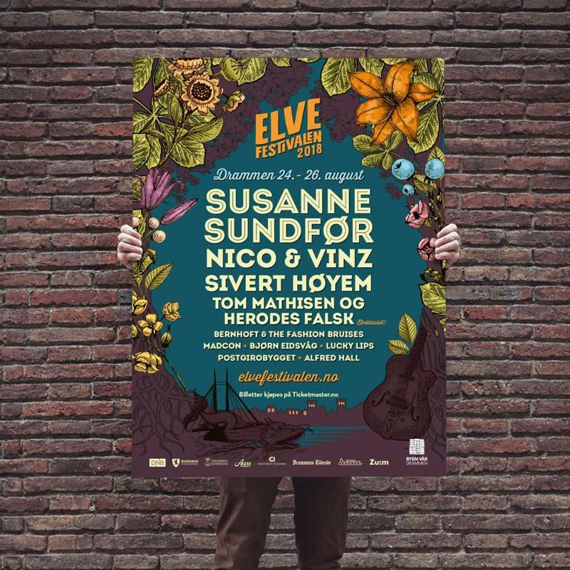Grafisk design plakat Elvefestivalen